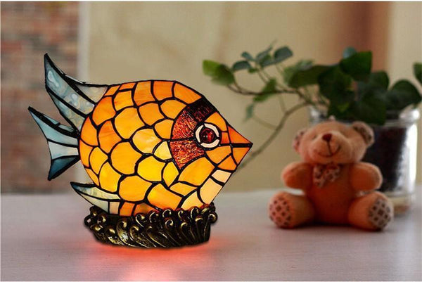 Fish Styled Stained Glass Table Lamp-Decorative Night Lamp-[variant_title]-Khadiza Electricals