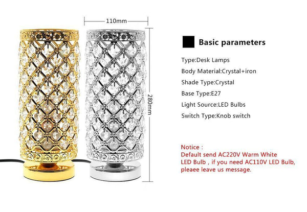 Elegant Crystal Table Lamp-Decorative Table Lamp-[variant_title]-Khadiza Electricals