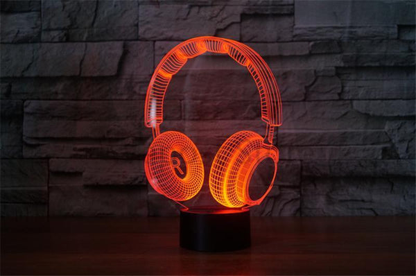 Color Changing Headphone Designed 3D Effect Night Lamp with Touch Control-Decorative Night Lamp-[variant_title]-Khadiza Electricals