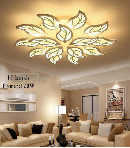 Leaf Styled Led Ceiling Chandelier with App Control-Decorative Chandelier-White / 15heads / Dimmable with remote-Khadiza Electricals