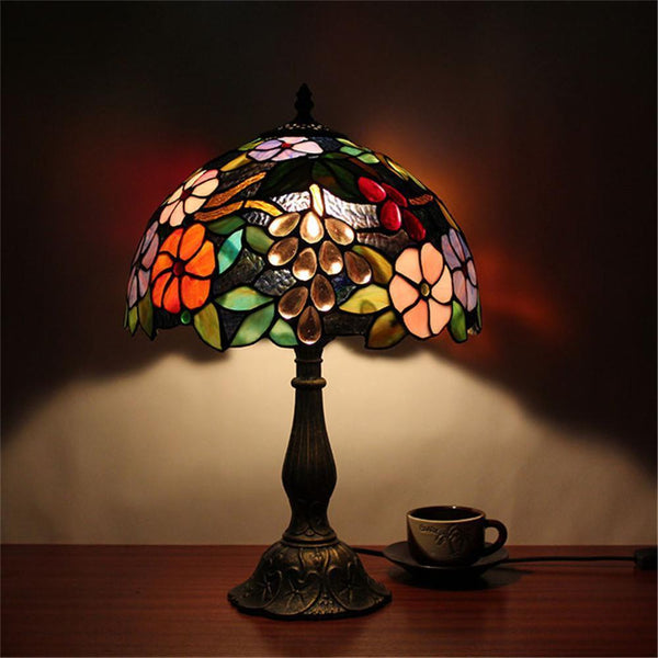 Flower Stained Glass Table Lamp-Decorative Table Lamp-Black-Khadiza Electricals