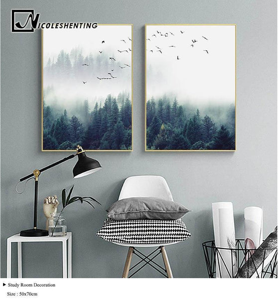 Nordic Forest Lanscape Wall Art Canvas Painting for Home Decor-Non Electric Home Decor-[variant_title]-Khadiza Electricals