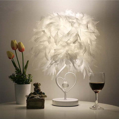 Attractive Feather Table Lamp Light for Reading Room Sitting Room (EU, US, UK, AU Plug)