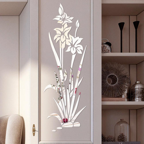 Lotus Flower Removable Mirror Wall Sticker for Home Decor (DIY)