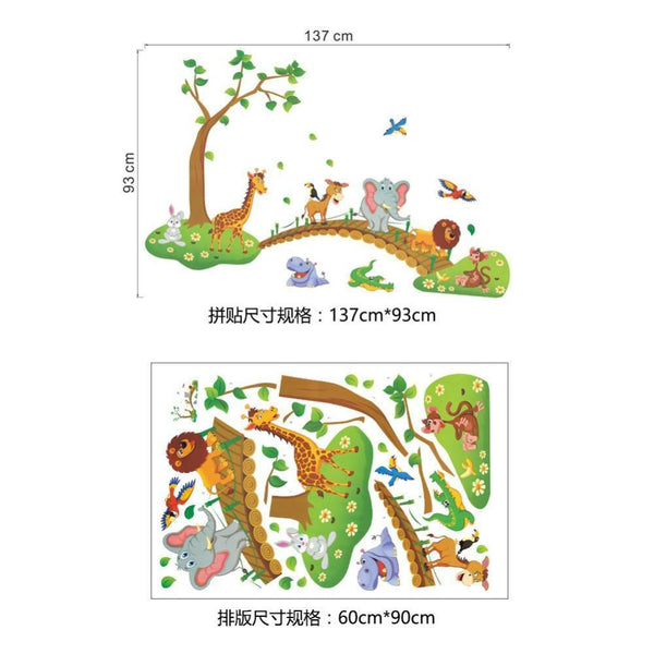 Cartoon Jungle tree bridge with wild animals for kids room decor (3D)-Non Electric Home Decor-[variant_title]-Khadiza Electricals