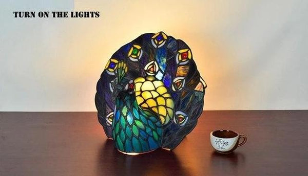 Peacock Bird's Nest Styled Stained Glass Table Lamp-Decorative Night Lamp-[variant_title]-Khadiza Electricals