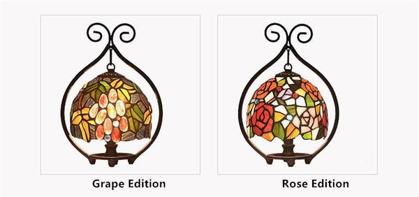 Rose & Grape Stained Glass Table Lamp