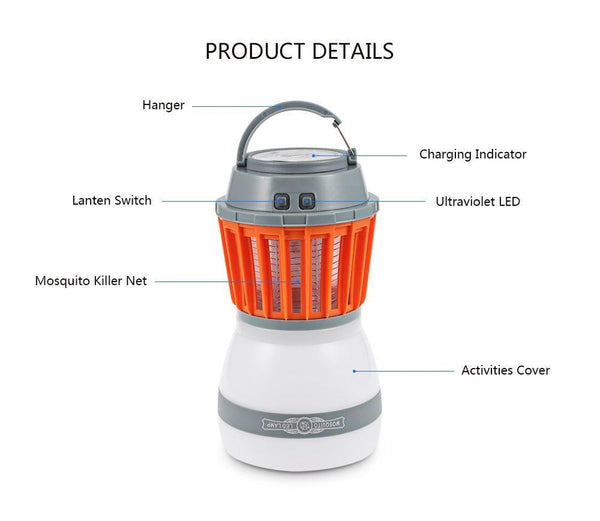 Portable LED Camping Lamp cum Mosquito Killer With Solar USB Charging-Solar Camping Lamp-[variant_title]-Khadiza Electricals