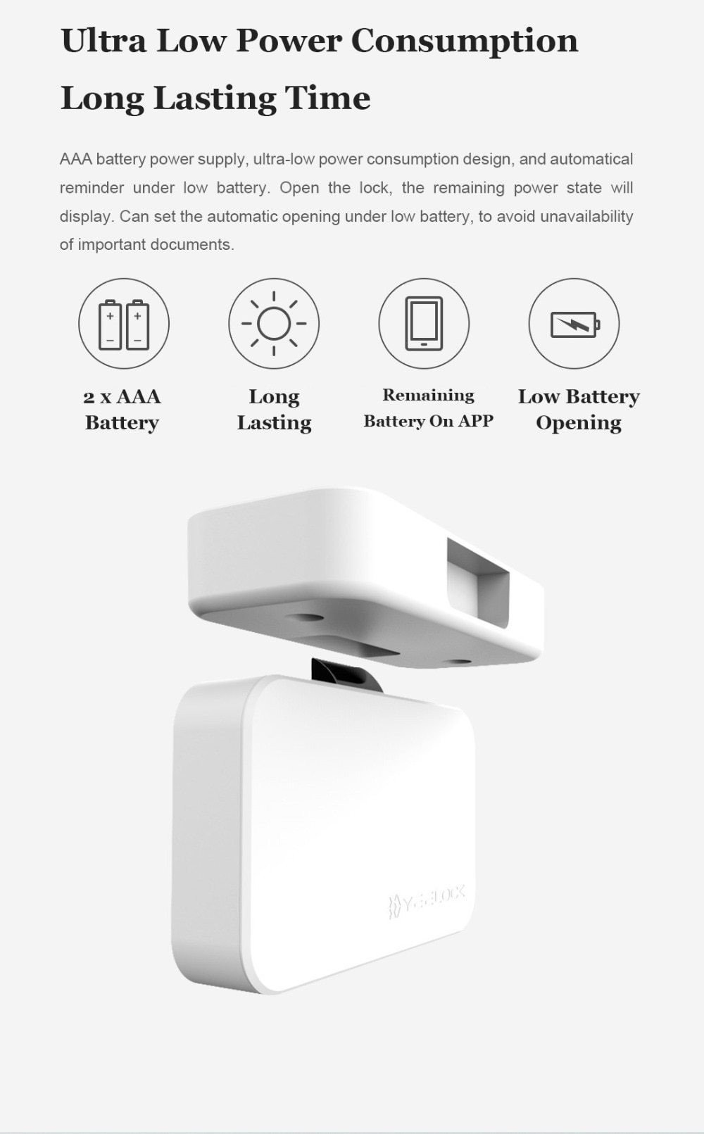Keyless Smart Drawer Cabinet Lock, Bluetooth APP Controlled White