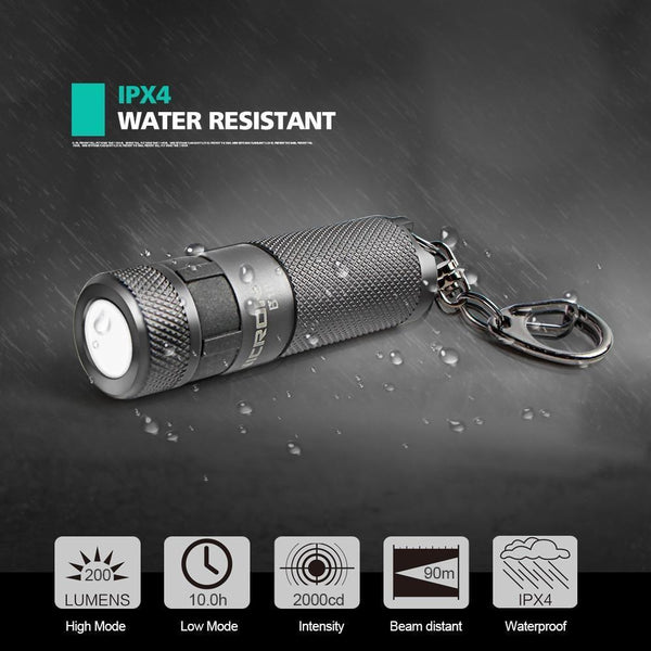 Waterproof USB Rechargeable LED Flashlight with Keychain (3W, 3 Modes)
