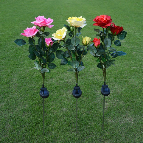 Waterproof Solar Powered ROSE FLOWER STAKE Lamp(3 LED Light)-Solar Outdoor Spike Spot-[variant_title]-Khadiza Electricals