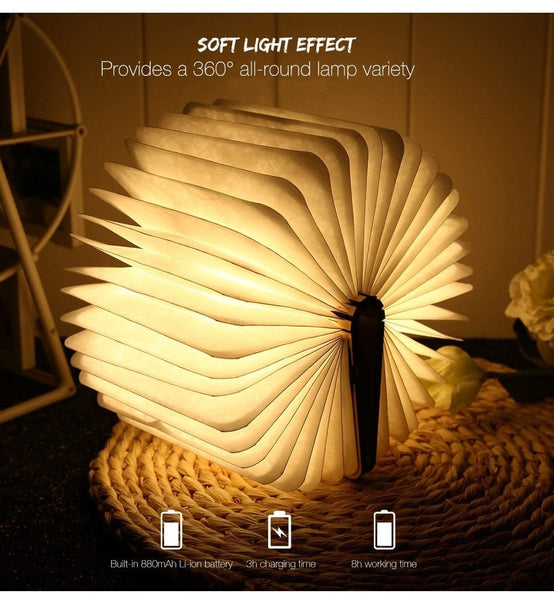 Magnetic Fold-able Wooden Book Shape Desk Lamp (USB Rechargeable)-Decorative Table Lamp-[variant_title]-Khadiza Electricals