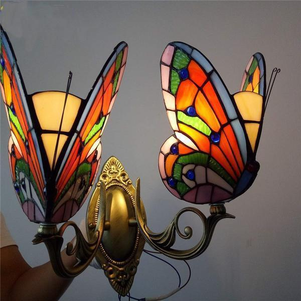 2 Butterfly Stained Glass Wall Lamp-Decorative Wall Lamp-[variant_title]-Khadiza Electricals