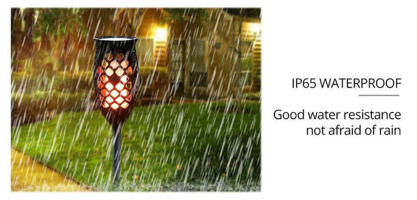 Waterproof Solar Powered LED Flame Light with Sensor for Outdoor Garden Garland Decoration