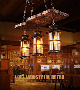 Old Retro Boat Wood led Pendant Lamp