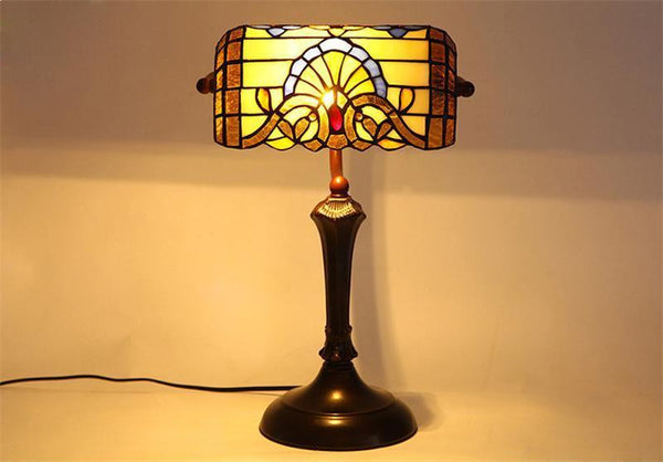 Stylish Baroque Stained Glass Table Lamps-Decorative Table Lamp-Pull wire switch-Khadiza Electricals