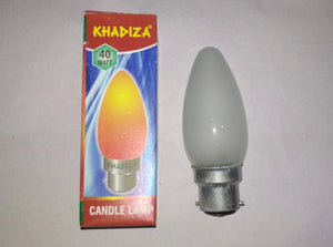 Khadiza Incandescent Candle Frosted 40w Bulb (Box of 20 pcs) B22 / India