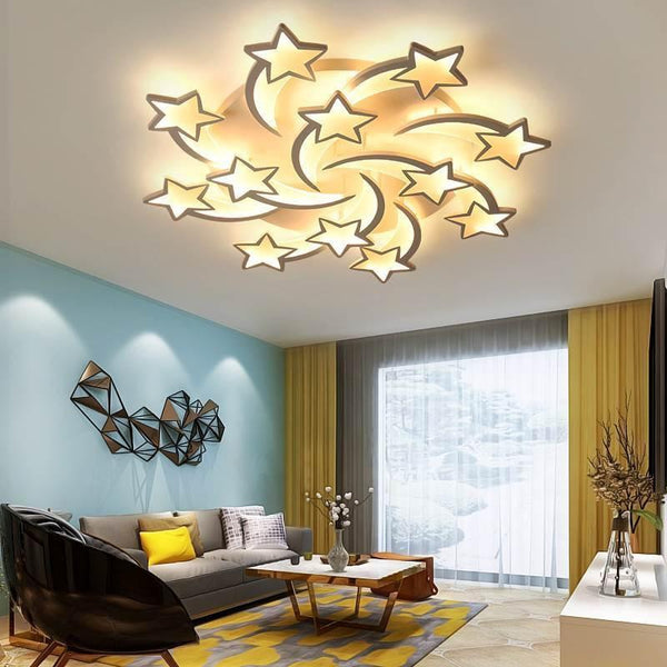 Star Shaped LED Chandelier App Supported-Decorative Chandelier-12 heads / Warm white no remote-Khadiza Electricals