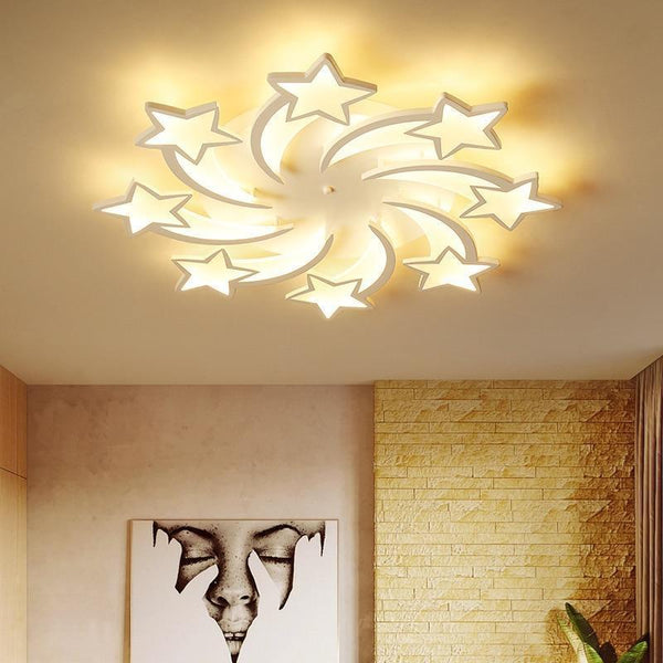 Star Shaped LED Chandelier App Supported-Decorative Chandelier-8heads / Warm white no remote-Khadiza Electricals
