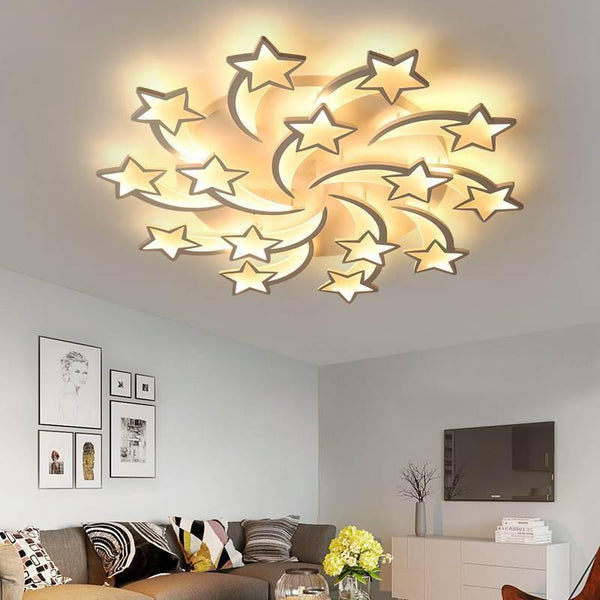 Star Shaped LED Chandelier App Supported-Decorative Chandelier-15 heads / Warm white no remote-Khadiza Electricals