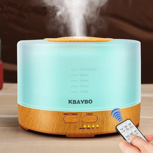 Wood Grain Ultrasonic Air Humidifier  (500ml , Remote Controlled, With Led Light)-Other Electrical Products-[variant_title]-Khadiza Electricals