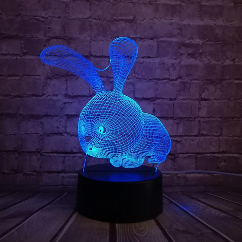 Rabbit Night Lamp With Touch Switch(3D Hologram Illusion)
