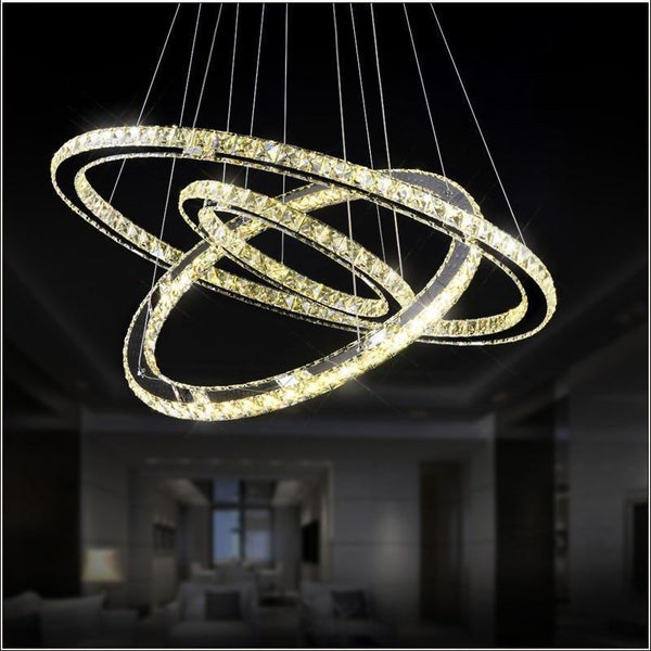 Crystal Circle Chandelier-Decorative Chandelier-3 Rings D50D40 D30cm / China / warm white light-Khadiza Electricals