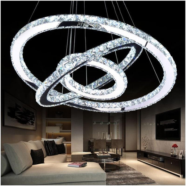 Crystal Circle Chandelier-Decorative Chandelier-3 Rings D50D40 D30cm / China / cool white light-Khadiza Electricals