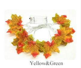 Maple Leaf Fairy Garland Led String Light-Decorative String Light-Yellow and Green / 1.5M 10leds-Khadiza Electricals