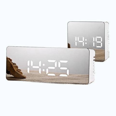 Mirror Digital Table Clock With Temperature Display