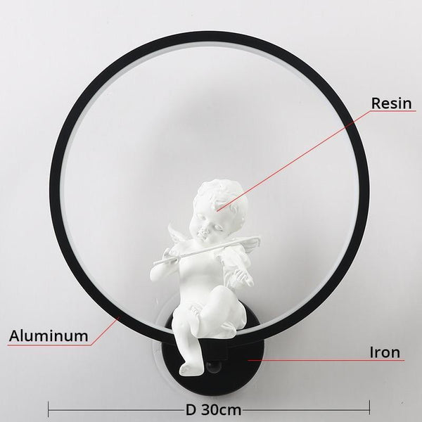 Remote Controlled Dim-able Bird/Angel LED Wall Lamp Made of Aluminum Ring-Decorative Wall Lamp-Angel   Black / Cool White(5500-7000K)-Khadiza Electricals