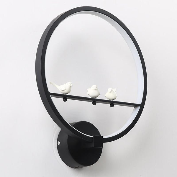 Remote Controlled Dim-able Bird/Angel LED Wall Lamp Made of Aluminum Ring-Decorative Wall Lamp-Bird   Black / Cool White(5500-7000K)-Khadiza Electricals