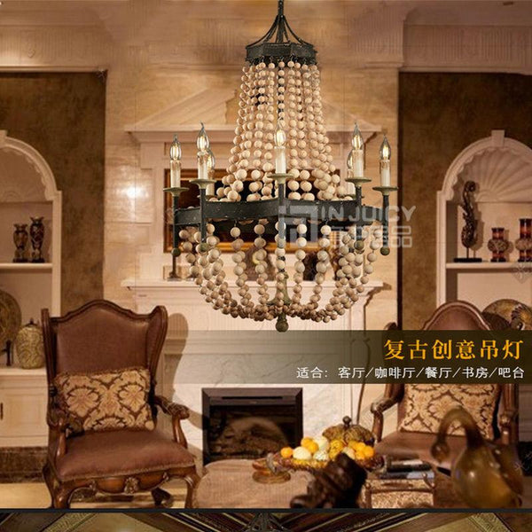 Vintage Wood Bead Ceiling Lamp(Bulb Excluded)-Decorative Pendant Lamp-[variant_title]-Khadiza Electricals