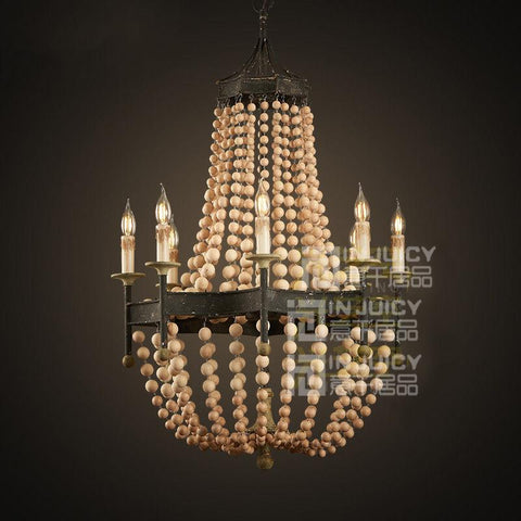 Vintage Wood Bead Ceiling Lamp(Bulb Excluded)