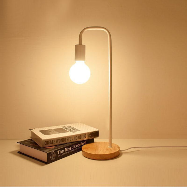 Vintage Table Lamp made of Wood and Metal-Decorative Table Lamp-White / With G80 LED bulb-Khadiza Electricals
