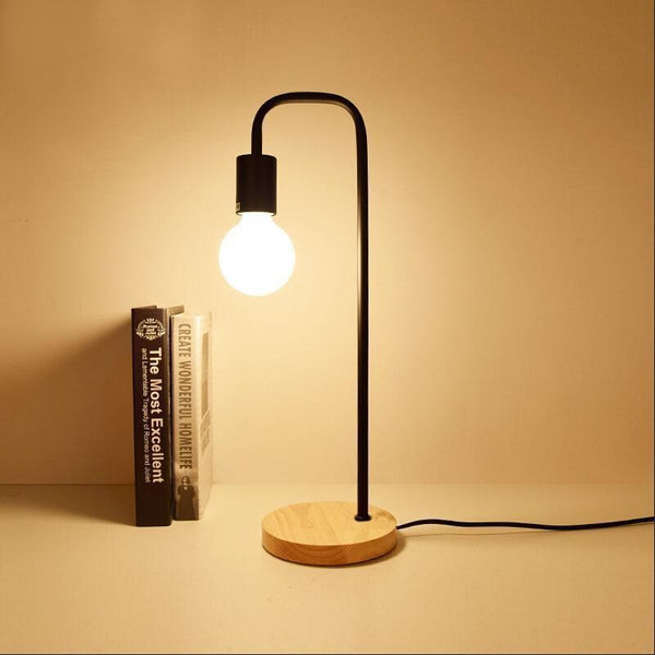 Vintage Table Lamp made of Wood and Metal-Decorative Table Lamp-Black / With G80 LED bulb-Khadiza Electricals