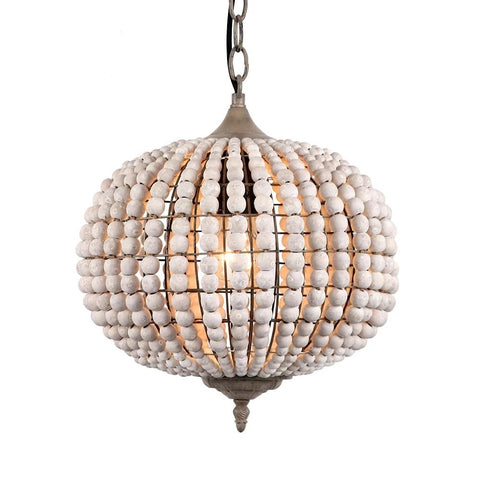 Vintage Wooden Bead Ball Shaped Pendant Lamp(Bulb Excluded)