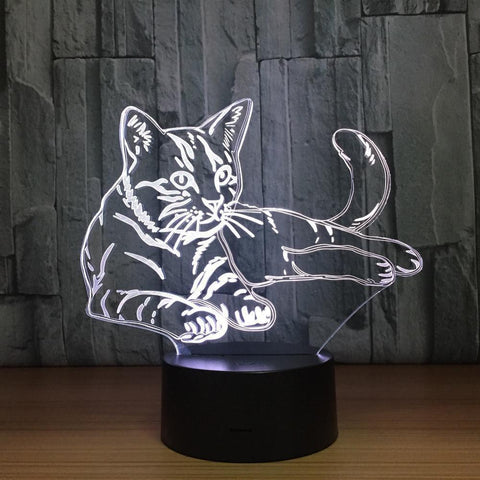 Cat  Night  Lamp With Touch Switch(3D Hologram Illusion)