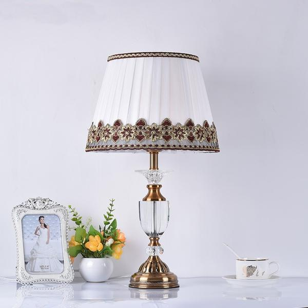 Classic Crystal  Glass Tall Table Lamp-Decorative Table Lamp-[variant_title]-Khadiza Electricals