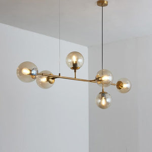 Glass Ball Brass Chandelier