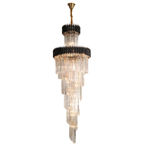 Black Metal Crystal LED Chandelier for Staircase