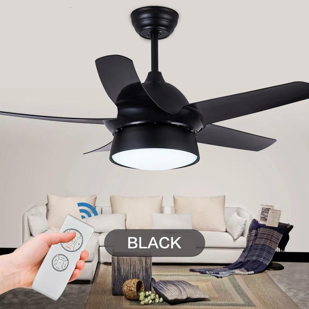 Modern Ceiling Fan With LED Dining lamp & Remote Control( Bulbs Included; Color - Gold Black White Pink)-Decorative Fan-Black-42inch-Khadiza Electricals