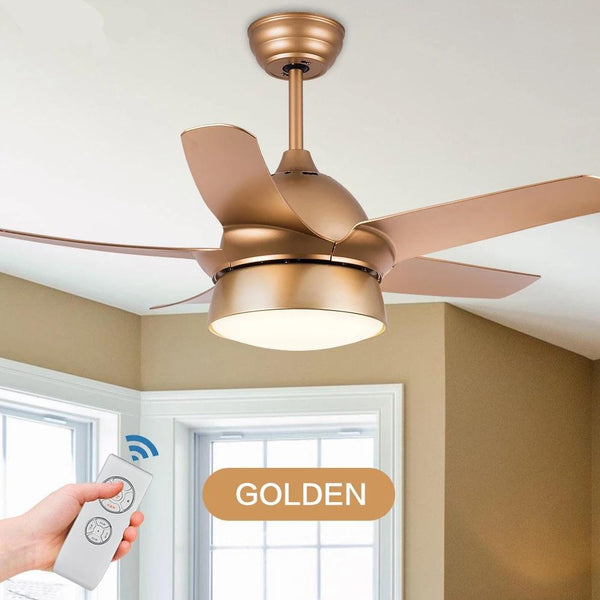 Modern Ceiling Fan With LED Dining lamp & Remote Control( Bulbs Included; Color - Gold Black White Pink)-Decorative Fan-Gold-42inch-Khadiza Electricals