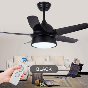 Modern Ceiling Fan With LED Dining lamp & Remote Control( Bulbs Included; Color - Gold Black White Pink) Black-42inch