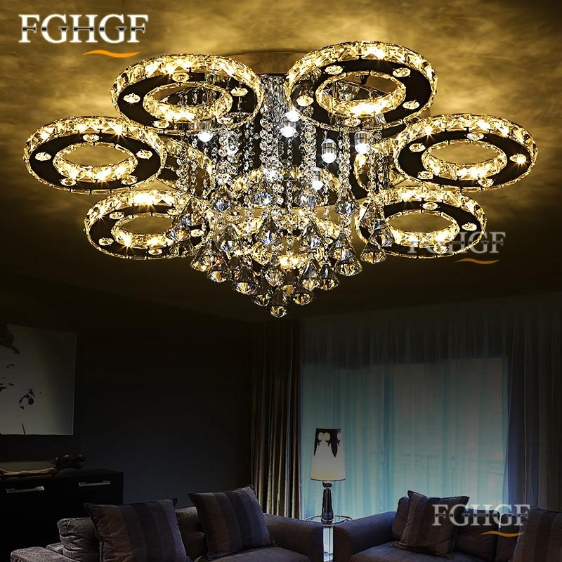 Modern Remote Controlled Dim-able Crystal Stainless Chrome Led Chandelier