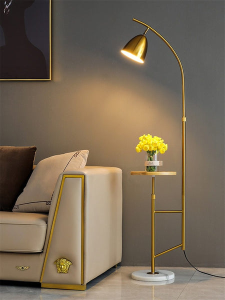 Modern Marble Floor Lamps With Tea Table Stand