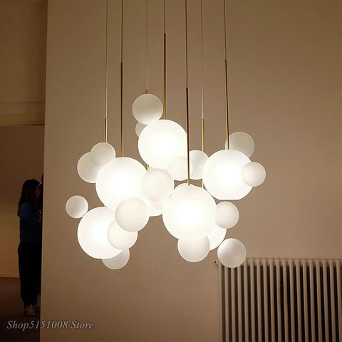 Milky Bubble Led Pendant Chandelier