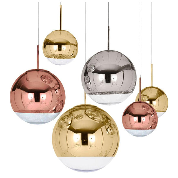 Metal Mirror Glass Ball Pendant Light