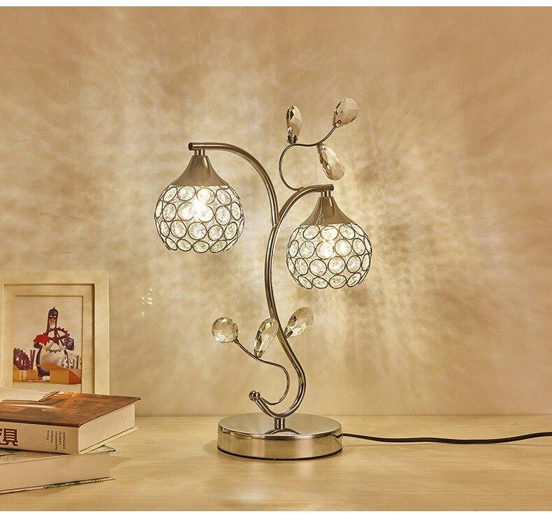 Metal Crystal Table Golden Lamp