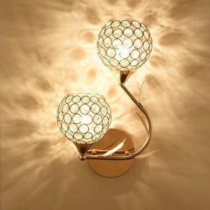 Crystal Two Heads Metal Wall Lamp (E27)